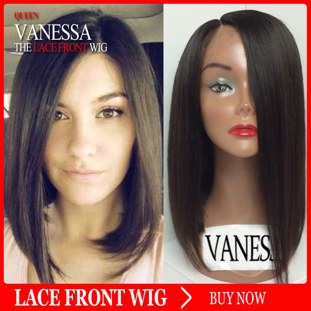 Silky Straight Hair Bob Wigs Natural Soft Black Lace Wigs