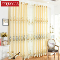 2018 New Embroidered Tulle Curtains For Windows Drapes European Modern Luxury Jacquard Curtain For Living Room