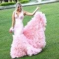 Sirena Correas Encanto 2016 Nueva Sexy Verano Lovely Pink Ruffles Con Gradas Vestidos de Fiesta de Noche Largo Vestido de Fiesta vestido de festa