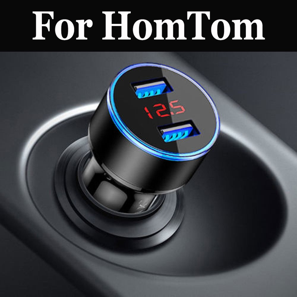 USB Car Charger With LED Display Universal For HomTom HT17 HT7 Pro HT16 HT10 HT3 Pro HT20 HT30 S8 HT12 HT37 S7 S16 HT50 S99(China)