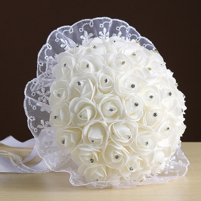Wedding Bouquet 2017 White Pink artificial Hand made Flower Rhinestone Bridesmaid Crystal  de mariage Bridal Bouquets