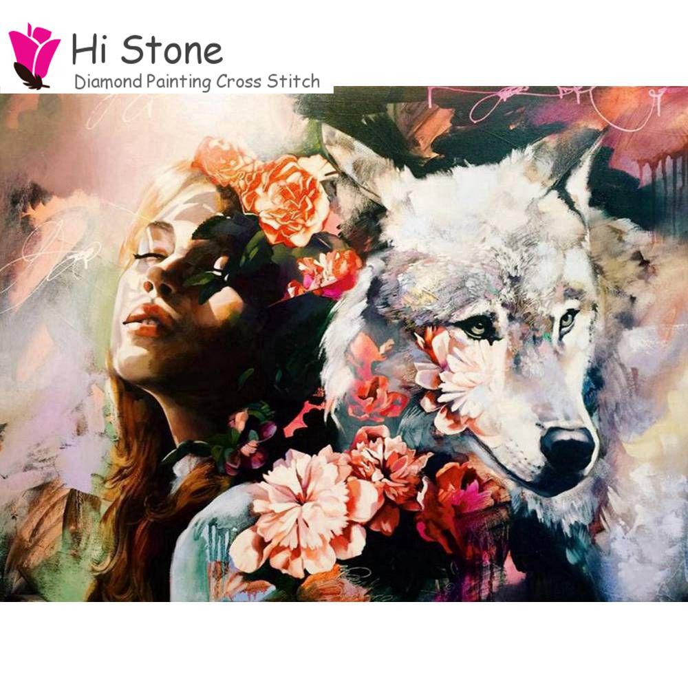 Поделки алмазов картина крестиком девушка волк цветы кристалл рукоделие 5D полный алмазов вышивки Картины мозаичный Декор подарки