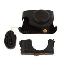 Nero pu leather camera bag custodia + tracolla per pentax mx1 fotocamera digitale cinghia staccabile