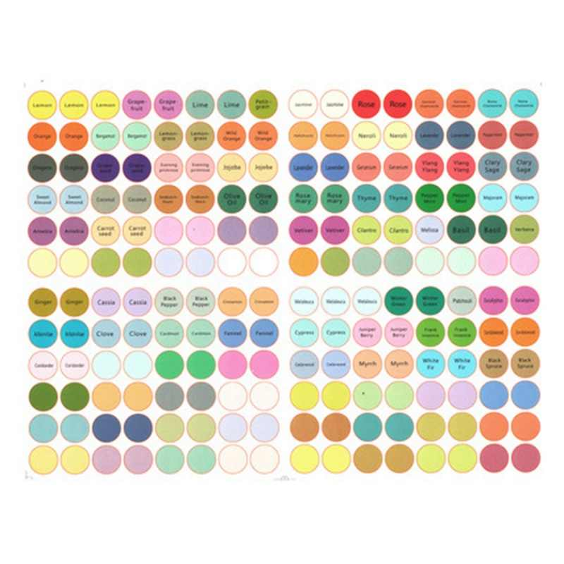 1Sheet Pre-printed Essential Oil Bottles Cap Lid Labels Round Circle English Stickers Colorful for Oils Organizer