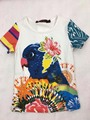 24 Color Catimidi Girls parrot sequined flower T-shirt  Children's tee tops Wholesale 2017