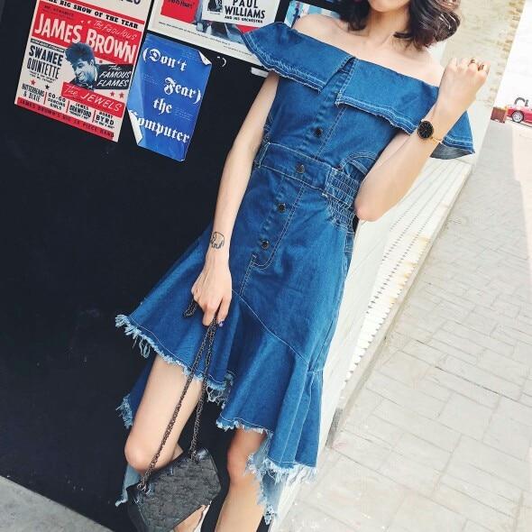 Denim Streetwear Mode Ww Whitney Bleu De Hors 2018 Wang Sexy L'épaule D'été Blouse 1580 Femmes Asymétrique Robe XwISpxvIHq