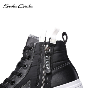 Image 5 - Smile Circle Winter Sneakers Women High top chunky Shoes Thick bottom Flat platform Shoes Winter Warm plush Shoes High quality