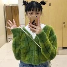 Sweaters Fashion 2018 Unif Sweater Women Winter Women Avocado Knit Sweater Women Knitted Cardigans Plaid Cotton