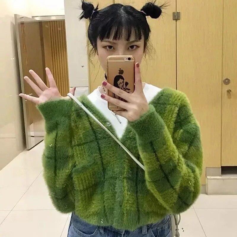 Pulls mode 2018 Unif pull femmes hiver femmes avocat tricot pull femmes tricoté Cardigans Plaid coton
