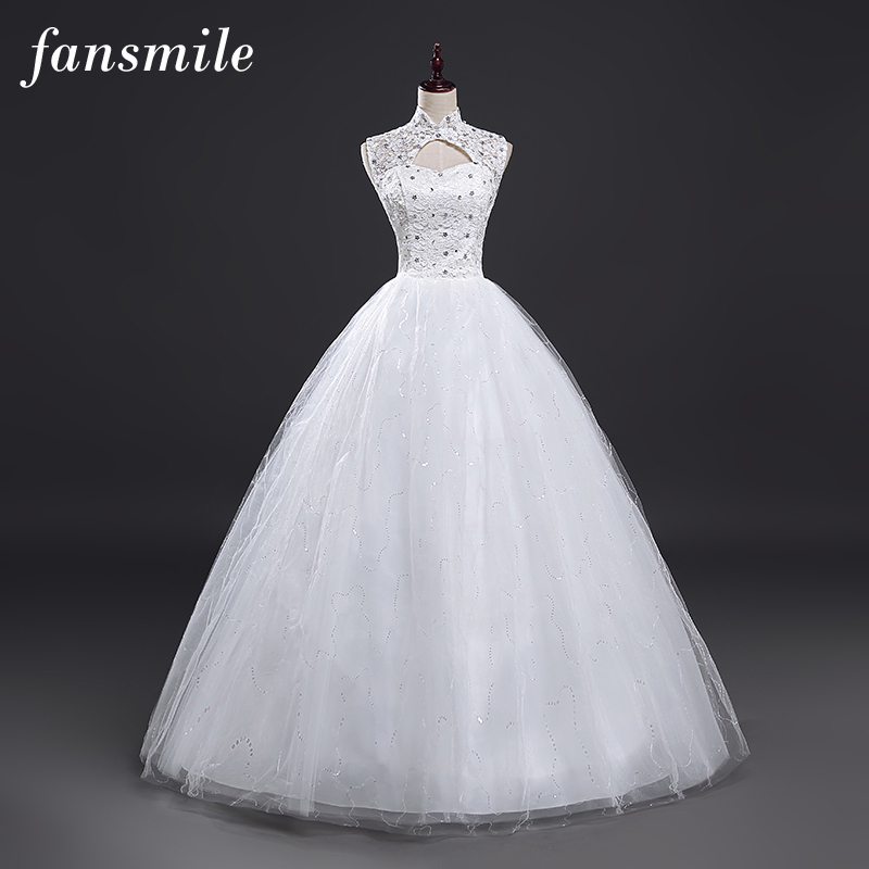 Fansmile Cheap Vintage Lace Up Wedding Dresses 2017 Real Photo Plus Size Bridal Ball Gown Vestidos