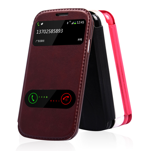 4 Color,PU Leather Flip Stand Cover Cases For Phone Samsung Galaxy S3 III GT-I9300 GalaxyS3 SIII Case & Touch Screen window