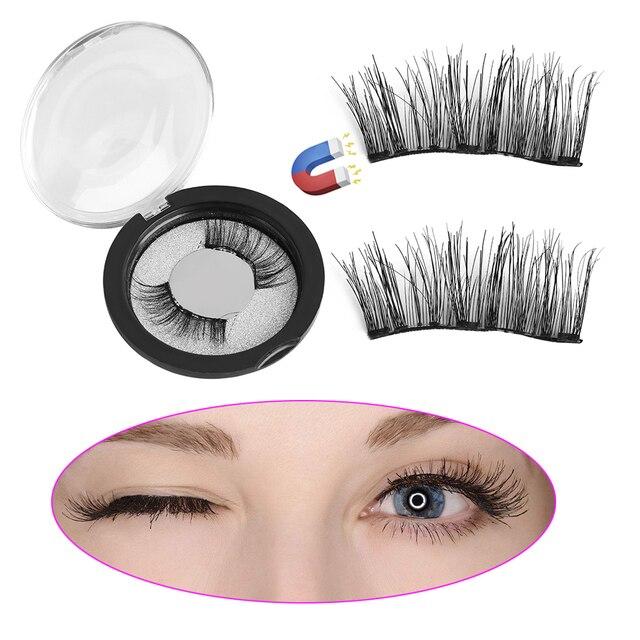 29837394333 SKONHED 4 Pcs Dual Magnetic Human Hair False Eyelashes Natural Makeup Thick Wispy  Lashes Beauty Tools Extension Makeup Tools
