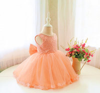 Elegant Lace Top Pageant Dress Beaded Pearls Infant Birthday Outfit With Bow TuTu Toddlers Easter Dress