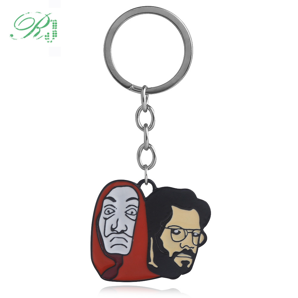 RJ Hot Spain TV Series La Casa De Papel Keychains The House of Paper Keyring Money Heist Salvador Dali Funny Choker Men Jewelry image