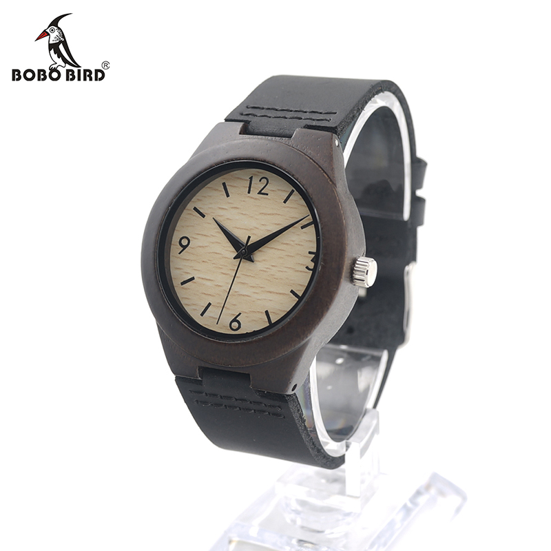 BOBO BIRD E28 Lady Delicate Ebony Wooden Watch Womens Top Luxury Brand Quartz Watch with Black Leather Strap relogio feminino