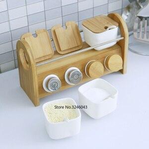 Image 4 - Caja de cerámica creativa para especias, tarro para especias, aceite para el hogar, sal, pimienta, condimento, juego de 7 piezas