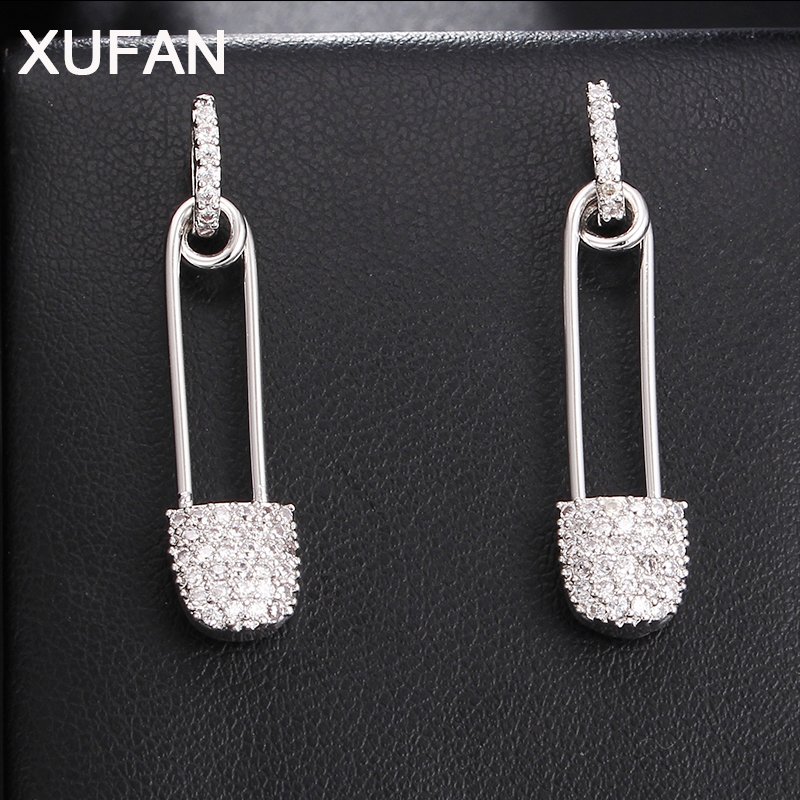 New Pin CZ Stud Earrings For Women Fashion High Quality AAA Zircon Earrings Weddings Party Earrings Jewelry For Christmas Gifts