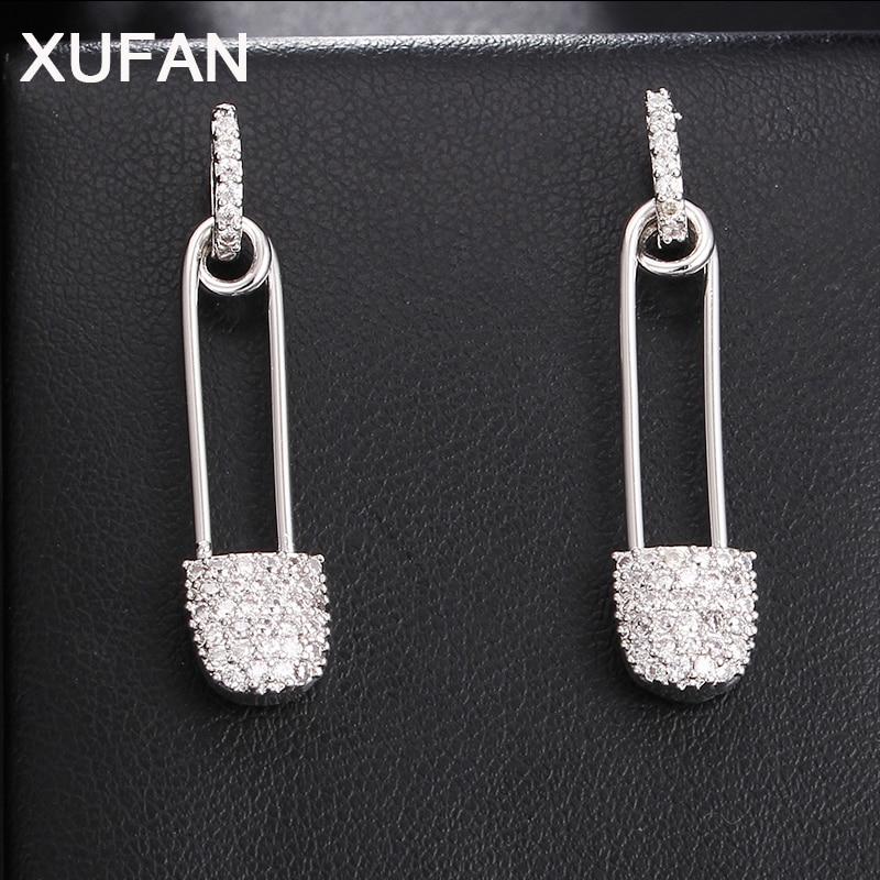 New Pin CZ Stud Earrings For Women Fashion High Quality AAA Zircon Earrings Weddings Party Earrings Jewelry For Christmas Gifts