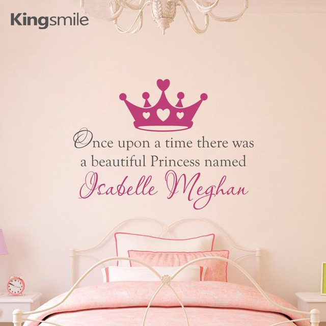 Once Upon A Time Personalized Name Princess Crown Wall Decal Stickers Quotes Removable Art Vinyl Kids