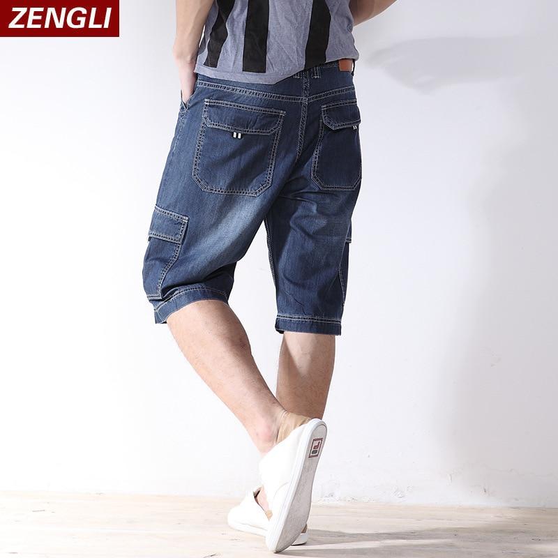 ZENGLI Mens Denim Cargo Shorts Jeans Casual Vintage Blue Pockets Biker Jeans Summer Knee Length Denim Shorts 40 42 44 46 48