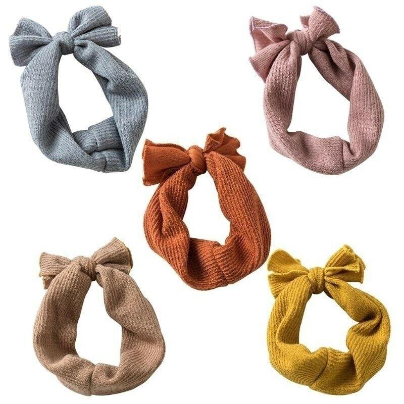 Baby Girls Handband High QUality Comfortable Cotton Blends Bunny Rabbit Bow Knot Turban Headband Hair Band Headwrap 5 Color