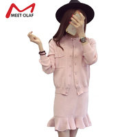 2017 Two Pieces Set Women Winter Autumn Dress With Knitting Outfit Sweaters Warm Casual Female Knitted