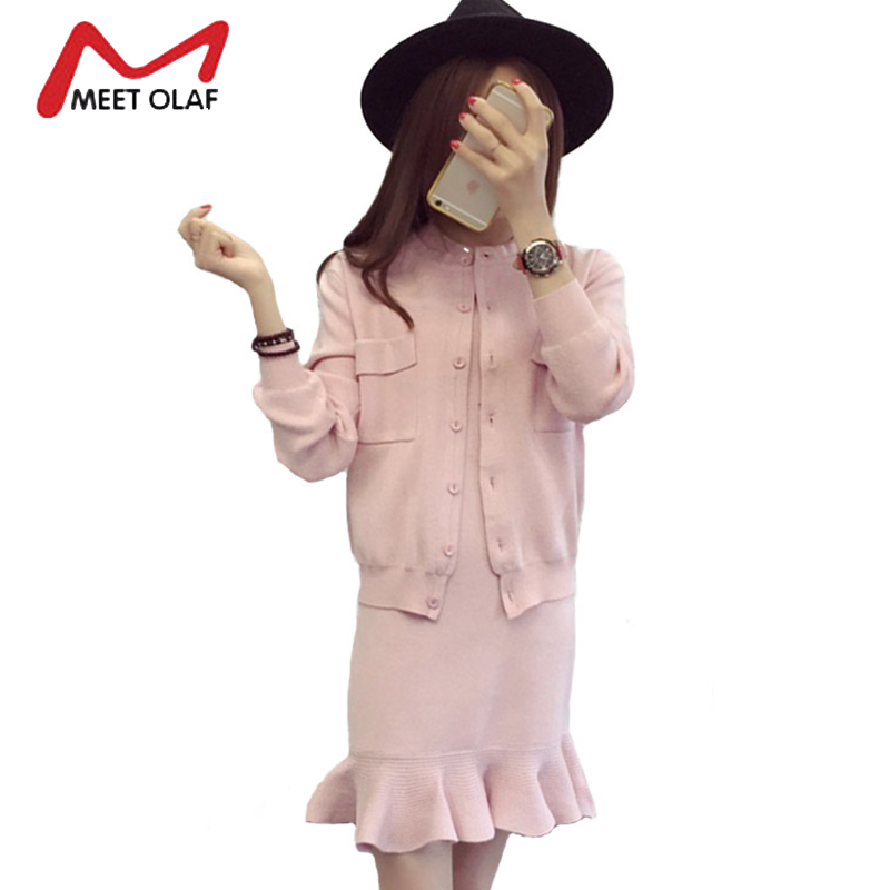 2017 Two Pieces Set Women Winter Autumn Dress With Knitting Outfit Sweaters Warm Casual Female Knitted dresses vestidos Y1717 kesebi 2016 autumn winter women warm letters labeling knitting head korean style hats female casual solid color skullies beanies