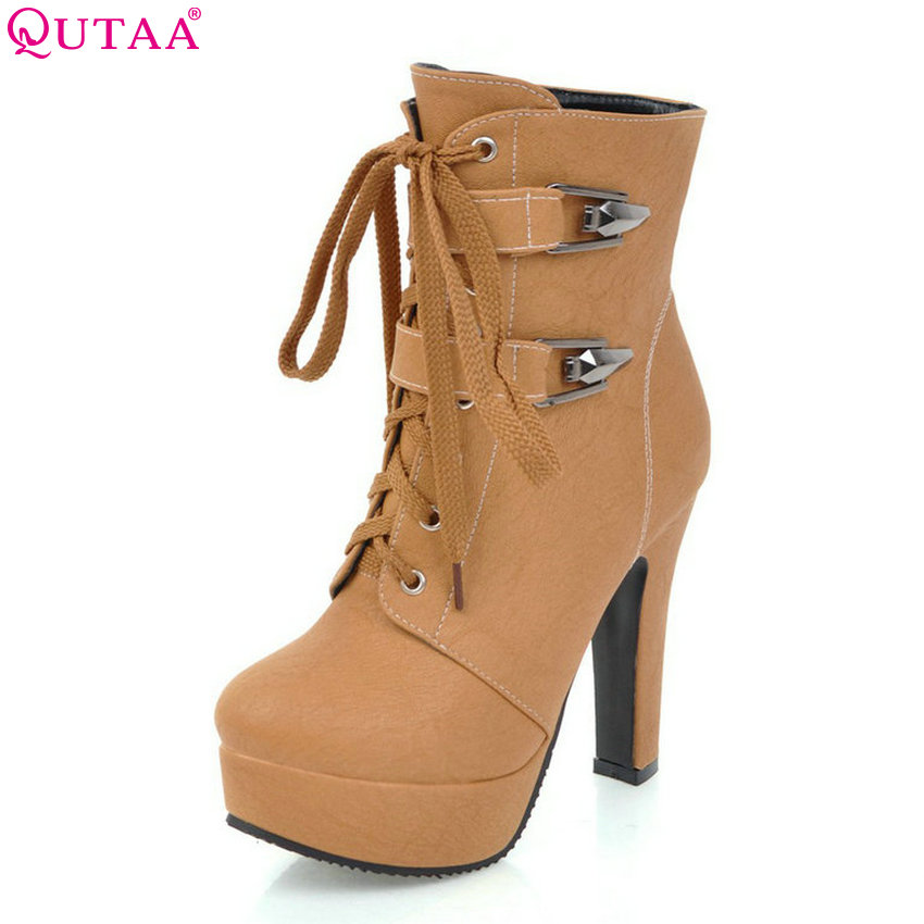 QUTAA 2018 Square High Heel Women Shoes Fashion Lace Up Round Toe Women Ankle Boots Platform All Match Ladies Boots Size 34-43 women ankle boots 2016 round toe autumn shoes booties lace up black and white ladies short 2017 flat fashion female new chinese