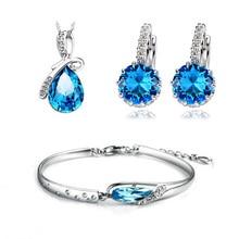 Necklace & Bracelet & Earring Sets de Calidad superior 3 Capas de Platino Plateado con Circón Azul Cristal Mujeres Juegos de Joyería WS44