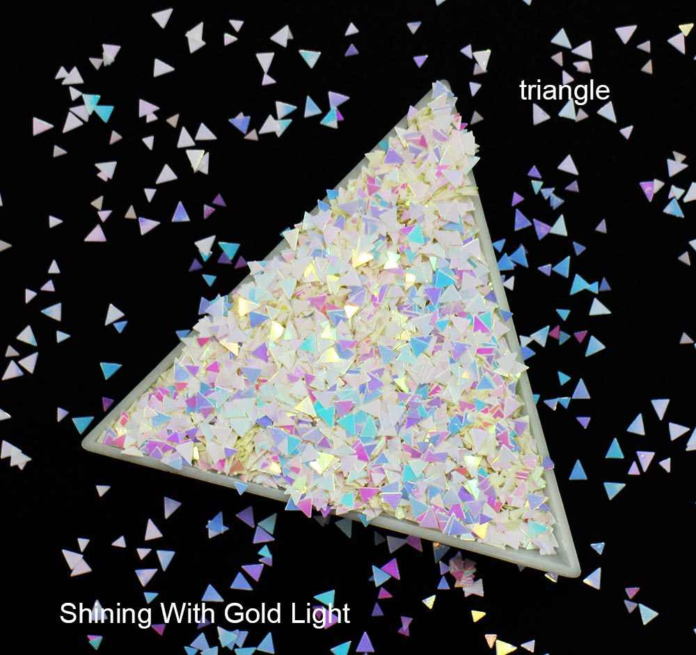10g/pack, Rhombus/Hexagon/Heart/Round/Triangle/Star Sequins, Iridescent Rainbow Shining Slice 3D Glitters Paillettes