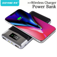 20000mah Power Bank External Battery Bank Built In Wireless Charger Powerbank Portable QI Wireless Charger For
