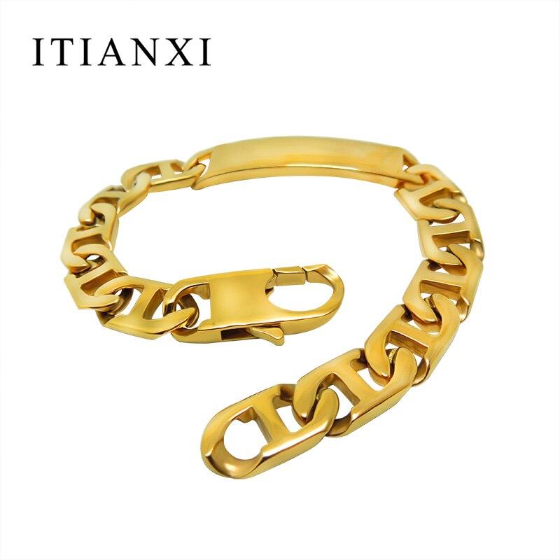 ITIANXI Vintage Europe Plated 24k Old Bracelet Bangle Fashion Noble Luxury Elegant Charm Titanium Steel New Mode Mens Bracelet