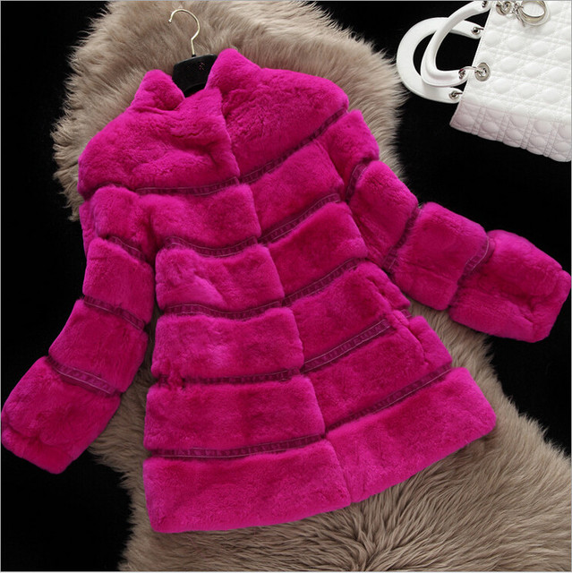 Fashion Stand Collar Rex Rabbit Fur Jackets Coats Short Design Women Real Fur Coat 5 Colors DA-18