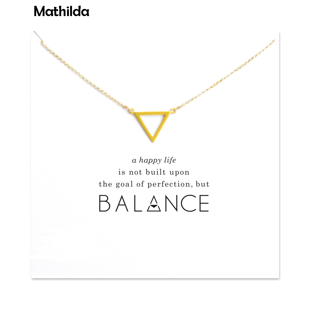 Hot Sale Sparkling Banlance Open Triangle Necklace Gold Dipped Pendant Necklace Clavicle Chain Statement Necklace T0273