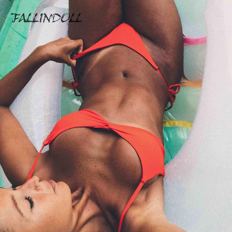FALLINDOLL  New Brazilian Bikini Swimwear Women Swimsuit Bandage Bikinis Women Bathing Suit Halter Top Biquini Summer Beach Wear
