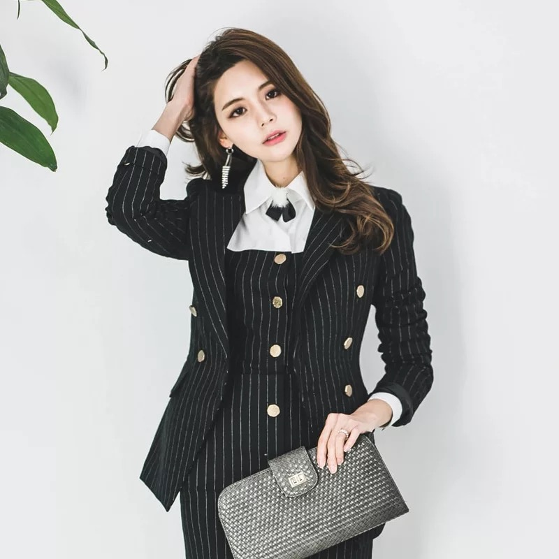 New Fashion Autumn Women's OL Professional Temperament Double-breasted Fashion Pinstripe Slim Comfortable Small Suit Jacket