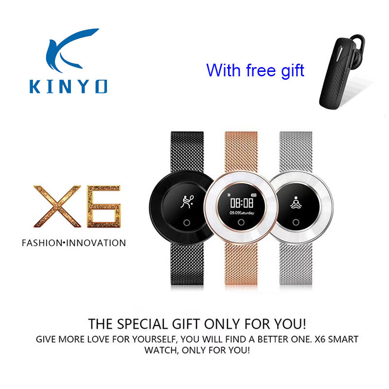 все цены на 2018 newest best female woman X6 smart band with heart rate blood pressure oxygen girl fitness tracker smart wristband bracelet онлайн