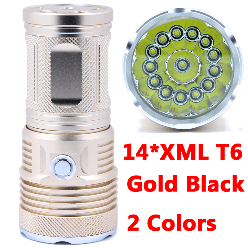 Super 34000LM New Version 14 x XML T6 14T6 LED Flashlight Torch lantern 4 x 18650 Rechargeable Batteries Hunting Camp Light Lamp