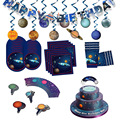 Украшение для вечеринки в космосе галактика Декор на день рождения для детей гирлянда бумажная тарелка чашка салфетка ракета астронавт Кос...