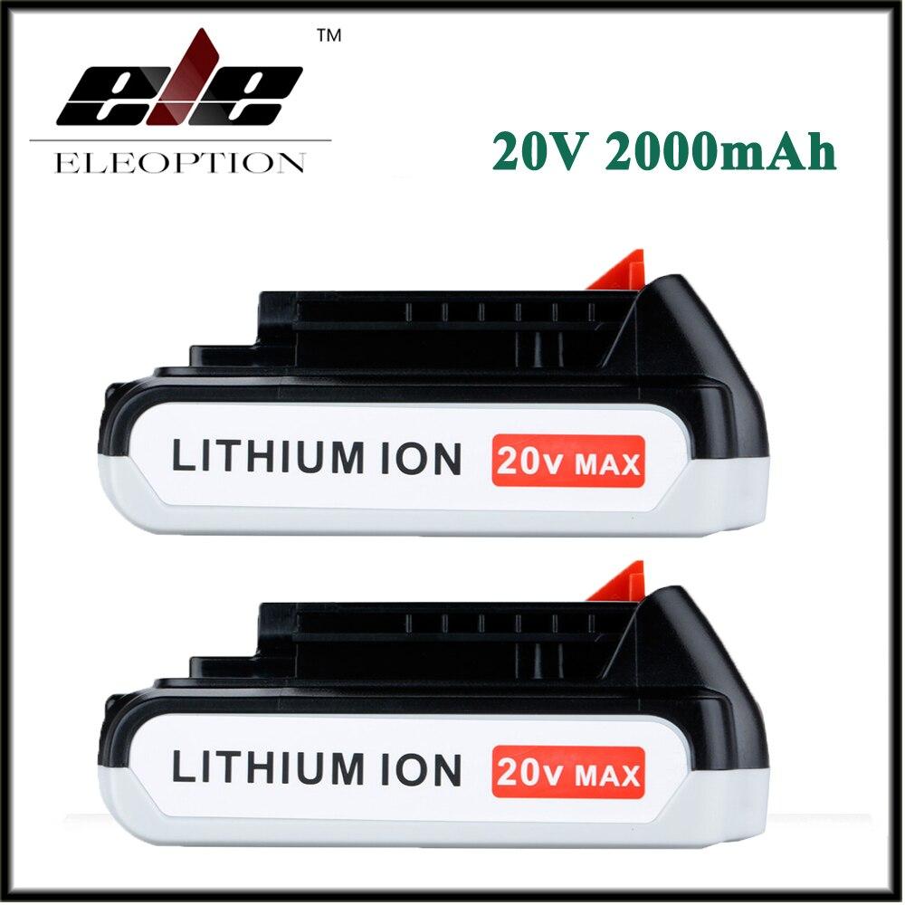 2x Eleoption 20V 2000mAh Li-ion Rechargeable Battery for BLACK & DECKER LB20 LBX20 LBXR20 LPP120 ASL188K rechargeable 2000mah backup battery case for blackberry 8520 9300 black actual 1400mah