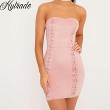 e9d587747da792 2018 Nieuwe Stijl Hoge Kwaliteit Goedkope China Groothandel Strapless Roze  Lace Up Mini Clubwear Night Out Party Bandage Jurk vo.