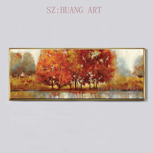 100% Hand Painted Gold Tree Painting Modern Gallery Oil Wall Canvas Decor Art Beautiful Scenery Deco