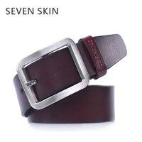 SEVEN SKIN Brand Men Genuine Leather Belt Luxury Strap High Quality Belt For Man Jeans Male