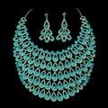 2016 Новый Свадебные Украшения Золотые И Серебряные Позолоченные Полный Кристалл Ожерелье и Серьги Африканских Свадебные Ювелирные наборы QXQ-G055