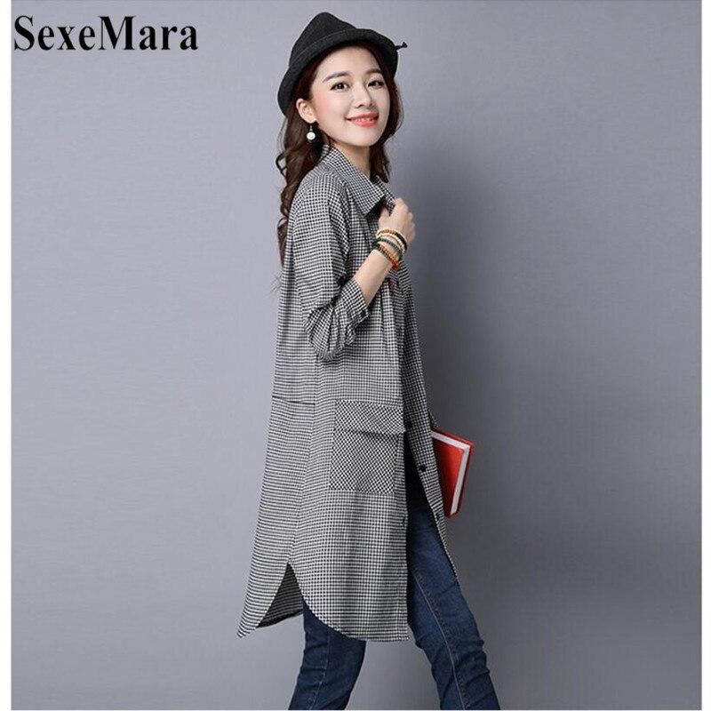 SexeMara Korean Version Of Large Size Lapel Cotton And Black And White Plaid Long Loose Shirt Female Blusas Mujer De Moda 2019 (8)