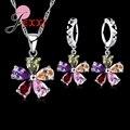 Cinco Pétalos Flores Shinning Colorida CZ Colgante de Cristal Sistemas de la Joyería de Regalo 925 Collar de Plata de Ley + Cuelgan/Sistemas Del Pendiente Del Aro