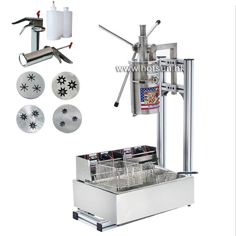 Free Shipping Commercial Heavy Duty 5L Manual Spanish Donuts Churreras Churros Maker Machine W 12L Fryer N 700ml Filler 12l electric automatic spain churros machine fried bread stick making machines spanish snacks latin fruit maker