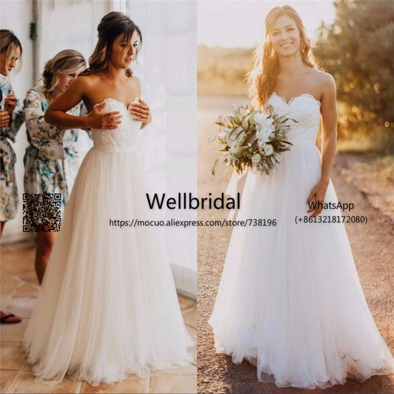 2017 Summer Beach Wedding Dresses With Appliques Lace Tulle Lace Up Back Vestidos De Novia Bridal Dress Backless Wedding Gown