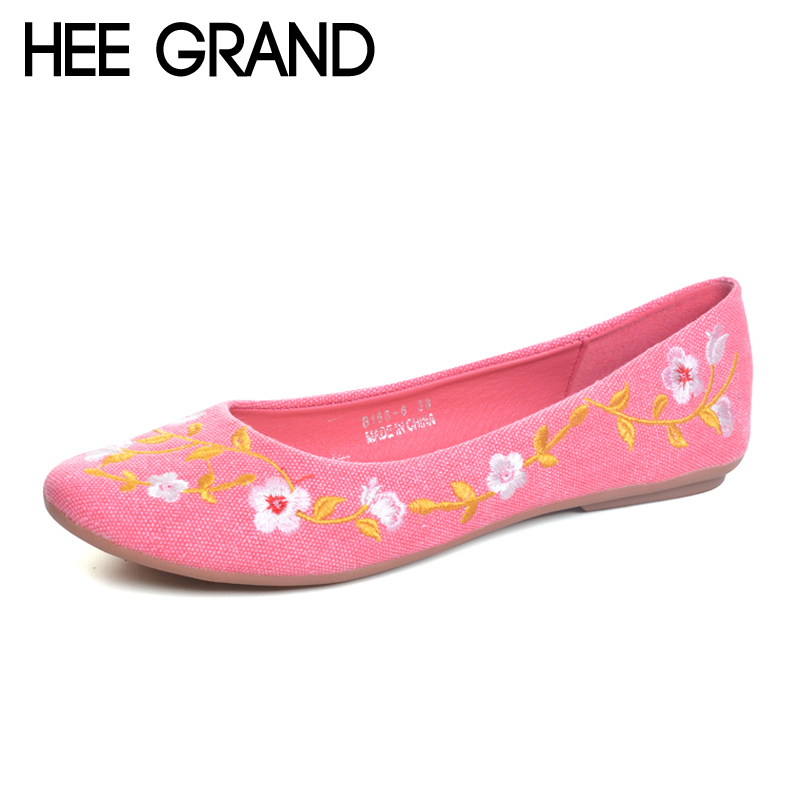 HEE GRAND Flowers Creepers Bohemia Ballet Flats Shoes Woman Loafers Comfort Slip On Casual Women Shoes Plus Size 35-42 XWD6023 siketu sweet bowknot flat shoes soft bottom casual shallow mouth purple pink suede flats slip on loafers for women size 35 40