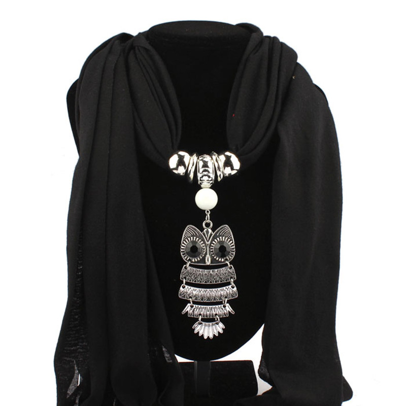 New Style Necklace Scarf With Owl Pendant Jewelry Tassels Scarf Shawl Wrap 6 Colors Women Autumn Winter Bufandas Mujer 163*39CM